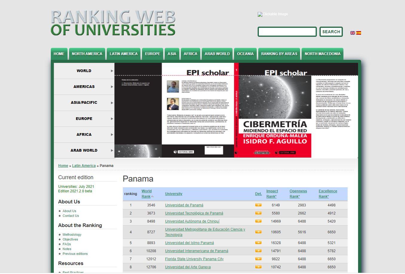 UNIVERSIDAD DE PANAMÁ ES LÍDER DEL RANKING WEB OF UNIVERSITIES ESTE 2021
